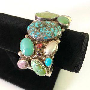 Multi-Stone Sterling Native American Bracelet